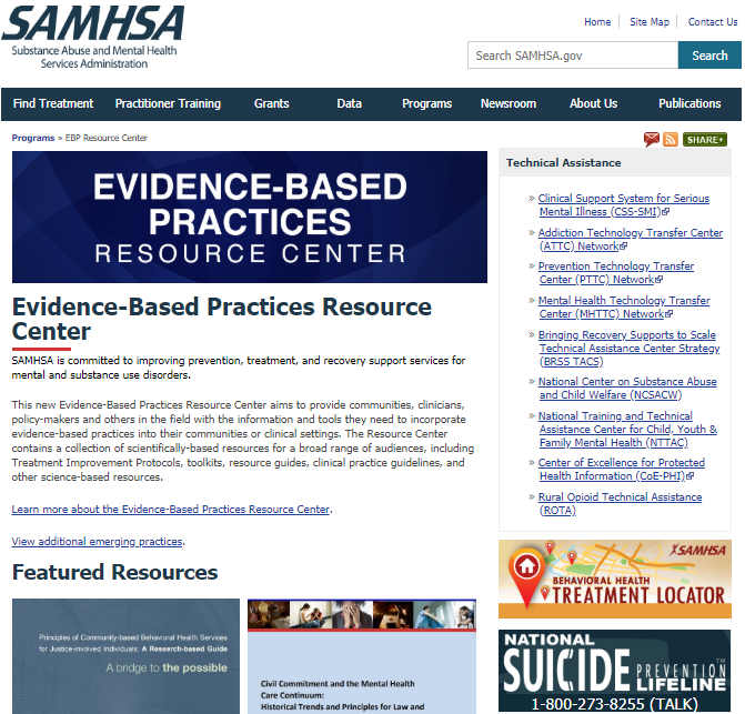 Screenshot of evidence based practices resource center webpage