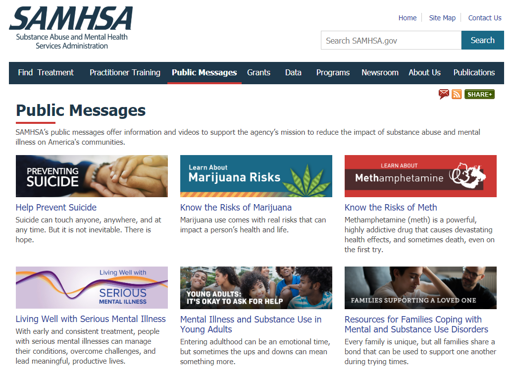 SAMHSA public messages