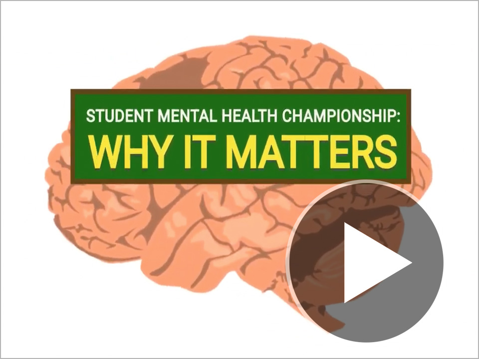 Screenshot of video's title frame: Student Mental Health Championship - Why it Matters