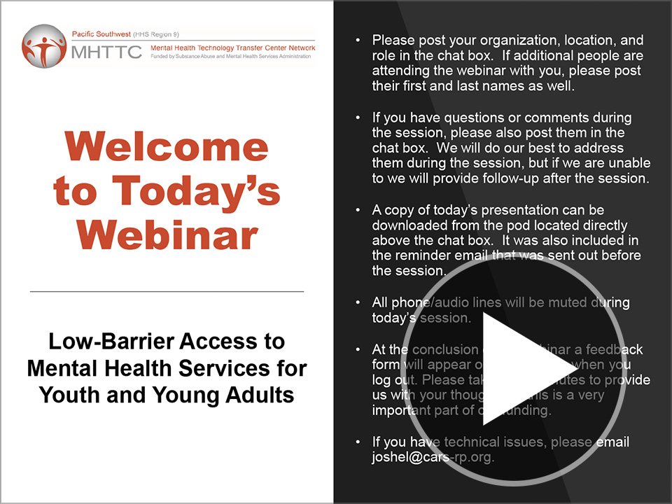 Title slide for Low Barrier Access to Mental Health Services for Youth and Young Adults
