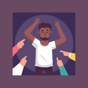 White hands pointing at innocent man with dark skin vector cartoon