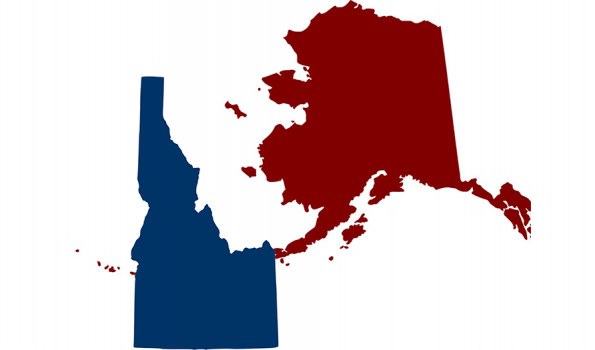 image of the states of Idaho and Alaska