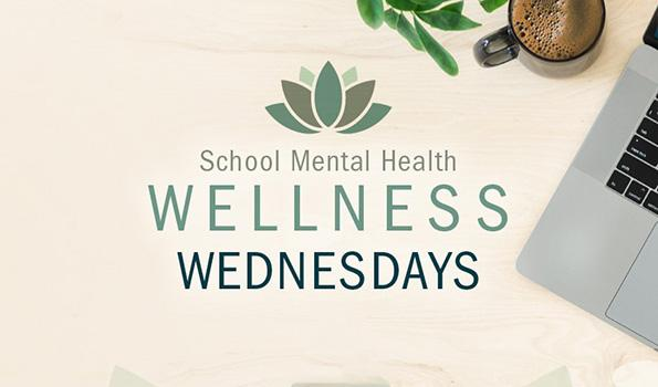 School Mental Health Wellness Wednesdays: Calming desk setup with laptop, coffee, and houseplant