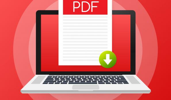 pdf button on laptop screen. downloading document concept. file with pdf label and down arrow sign