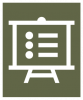 A white icon showing an easel with a document on it with a dark green colored background.