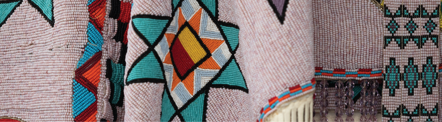 Close-up image of beaded fabric